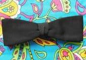 Vintage black pique bow tie Tenax Clip-on style mens evening dress slimline Z